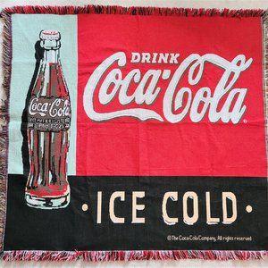 Vintage Coca Cola advertising afghan/blanket.
